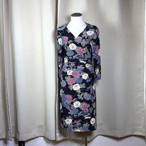 EUC black floral Express wrap dress size large